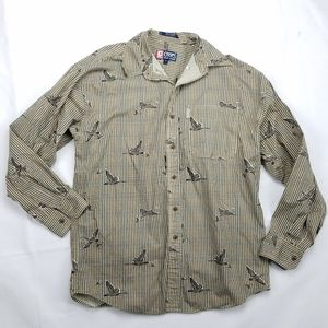 Chaps Goose or Duck Print Houndstooth Button Shirt